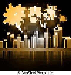 Night City Skyline with Fireworks