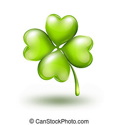 bright leaf clover on white background with soft shadow
