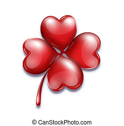 romantic symbol for Valentines Day - four-leaf clover with a...