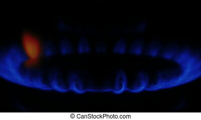 Blue natural Gas Flame, Camera - Blue natural Gas Flame,