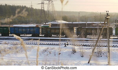 moving train in train station - View of moving train in...