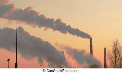 Smoke from factory chimneys