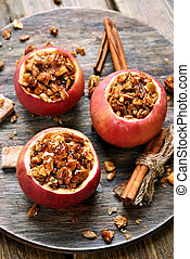 Baked apples stuffed with granola, top view