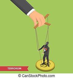 people manipulating illustration - Terrorist puppet on ropes...