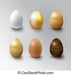 Set of Realistic 3D White, Gold, Brown and Wooden Eggs Eggs...