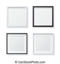 Set of White Blank Picture Frames and Black Blank Picture Frames, hanging on a White Wall from the Front.