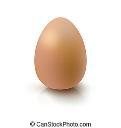 Realistic 3D Brown Egg Egg on white background with...