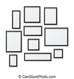 Set of Black Blank Picture Frames, hanging on a White Wall from the Front, isolated on white background.
