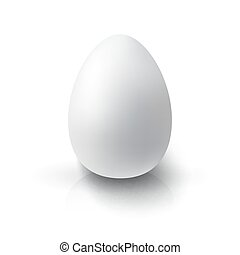 Realistic 3D White Egg Egg on white background with...