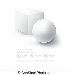 Realistic 3D White Ball and White Cube. Ball and Cube on white background with reflection. Design Template for Mock Up.