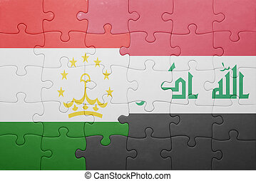 puzzle with the national flag of tajikistan and iraq ....
