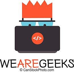 Vector creative geek logotype. Modern flat computer nerd...
