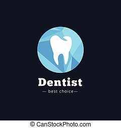 Vector modern polygonal dental clinic logo