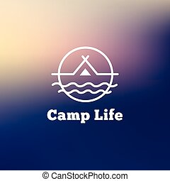 Vector trendy outline camping logo. Tent on a river hipster logotype