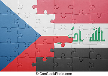 puzzle with the national flag of czech republic and iraq