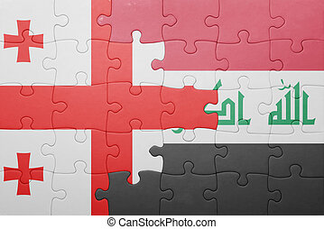 puzzle with the national flag of georgia and iraq concept