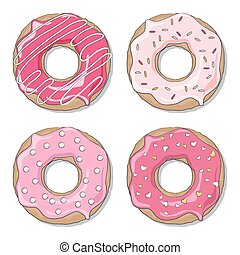 Valentine donuts - Four ring donuts over white background,...