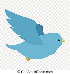 Flying blue bird illustration - Flying blue bird in cartoon...