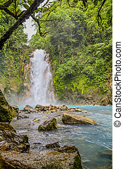 Waterfall on the Rio Celeste, Tenorio Volcano National Park,...
