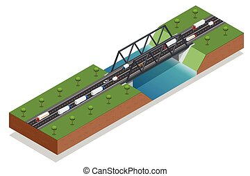 Isometric bridge over the river. Commercial transport. Truck car. Various types of load and cargo. Logistics. Vector isometric illustration.