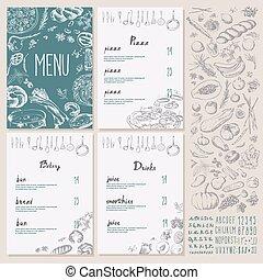 Restaurant Food Menu set Vintage Design with Chalkboard -...