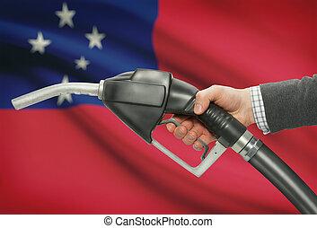 carburante, pompa, ugello, in, mano, con, nazionale,...