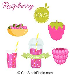Raspberry fruit and smoothie juice vector set. - Raspberry...