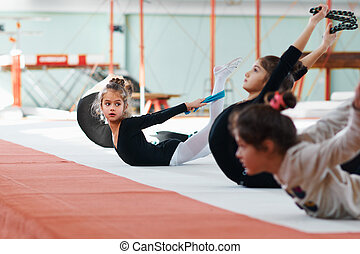 repeats of another exercise gymnastics - girl repeats of...