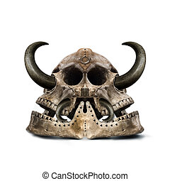 Skull - twofold mysterious skull with sharp horns