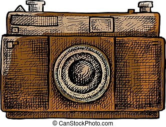 Hand drawn camera. Vector illustration