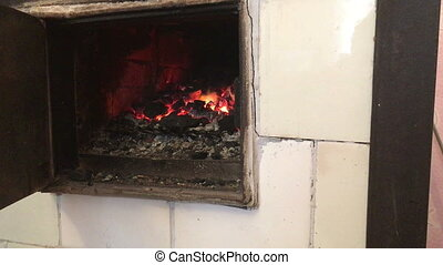 domestic home wood burning stove fire - domestic home wood...