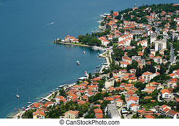 Top view on town Dobrota in Bay of Kotor, Montenegro