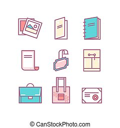 print product thin line color icons Printing objects icons...