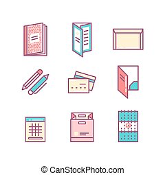 print product thin line color icons. Printing objects icons...