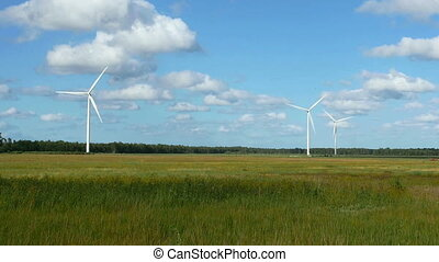 Wind Turbines in the fields, white Wildmill