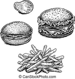 Black and white hand drawn fried potatoes, chips and sandwiches.