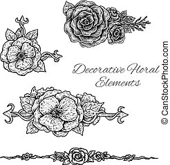 Beautiful black and white hand drawn vintage style design...
