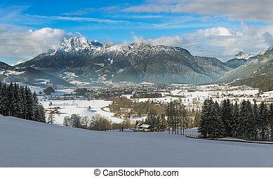 Wintery mountain range in Tyrol, Saalfelden, Austria