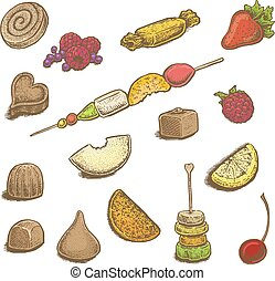 Colorful hand drawn vector illustrations set of sweets:...