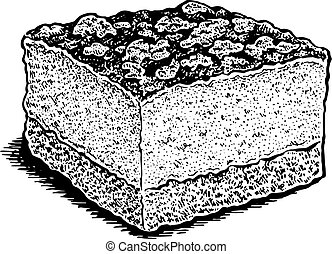 chocolate and nuts cake - Black and white hand drawn vector...