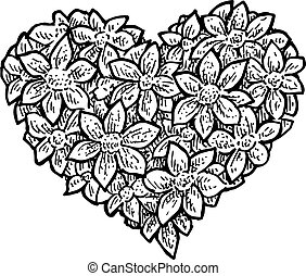 flower petals in a shape of a heart - Black and white vector...