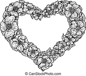 floral frame in a shape of a heart - Black and white vintage...