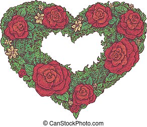 floral frame in a shape of a heart - Colorful hand drawn...