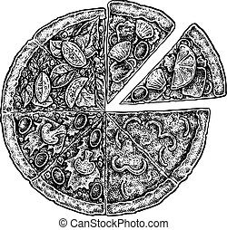 vintage sketchy style illustration of a pizza - Black and...