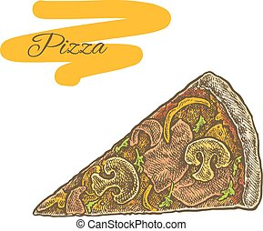 Colorful vintage sketchy style illustration of a cut pizza...