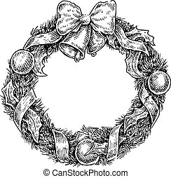 vintage sketchy style illustration of a Christmas