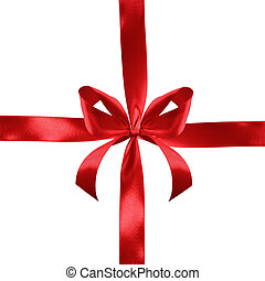 Red satin gift bow and ribbon crosswise isolated on a white...