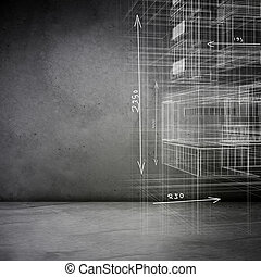 Grey background with 3d model sketch
