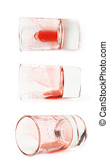Glass shot with grenadine leftovers - Glass shot with...