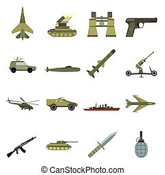 16 weapon flat icons set - 16 weapon flat icons set. Color...